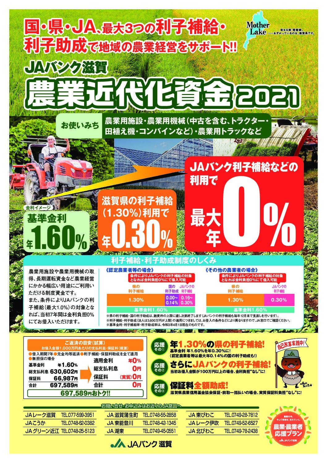JAバンク滋賀 農業近代化資金2021